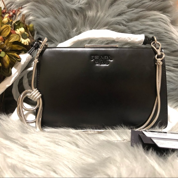 6c495e8add ... australia new prada spazzolato black leather crossbody bag 98d32 8c997